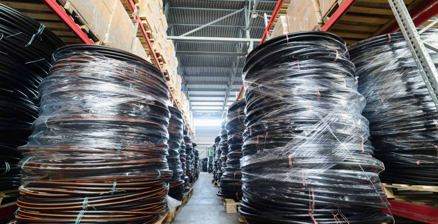Warehouse industrial and logistics companies. Coiled plastic pipe.